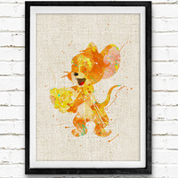 Mouse Jerry Watercolor Print, Tom and Jerry Baby Girl Nursery Decor, Wall Art, Home Decor, Gift Idea, Not Framed, Buy 2 Get 1 Free!