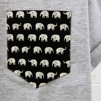 Men's Elephant Pattern Grey Pocket T-Shirt, Men's T- Shirt, Pocket tee, Unisex, Menswear, UK