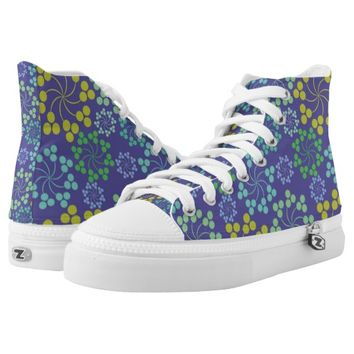 Lilac Flower Design Custom Zipz High Top Shoes Printed Shoes