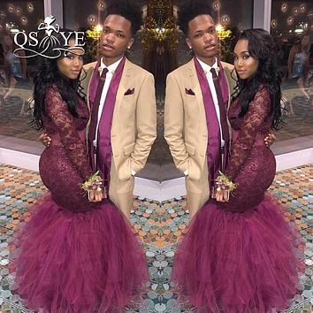 Sexy Burgundy Mermaid Long Sleeve African Prom Dresses for Black Girl 2017 Robe de Soiree Lace Beaded Tulle Formal Evening Gowns