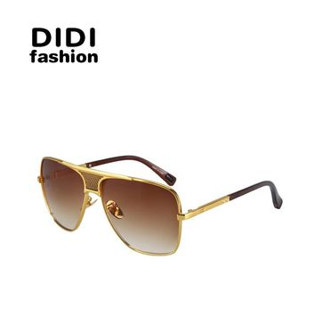 DIDI New Cat Eye Multi Goggle Men SunGlasses Aviator Brand Designer Oversized Lens Alloy+Plastic FrameI Retro Oculos De Sol H214