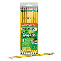 Ticonderoga Pencils Pre Sharpened 2 Soft Lead Yellow Barrel Box Of 18 by Office Depot & OfficeMax