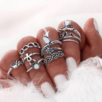 10 Piece Silver Boho Ring Set, Girl Heaven Exclusive
