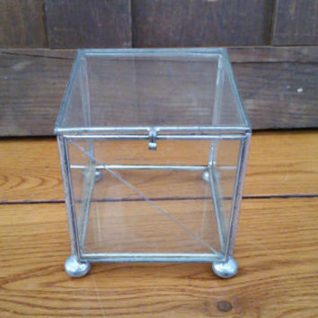 Vintage Silver Vitrine Square Glass Display Box