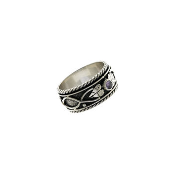 Ethos Sterling Silver And Amethyst Spinner Ring