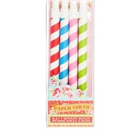 Set of 4 Stripy Straw Pens