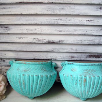 Vintage Aqua Painted Pair of Wall Pockets, Beach Cottage Homco Wall Hangings, Up Cycled Turquoise Wall Sconces