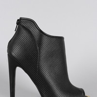 Qupid Asymetrical Collar Perforated Peep Toe Stiletto Booties