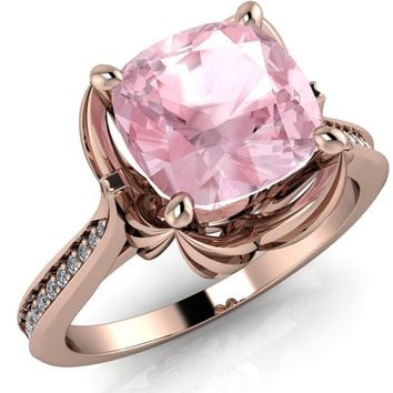 Portia 7mm Cushion Cut Morganite Center and Floral Basket Cathedral Diamond Shank 14k Rose Gold Ring