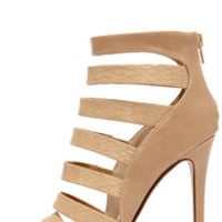 Dance Floor Takeover Taupe and Tan Snakeskin Shootie Heels