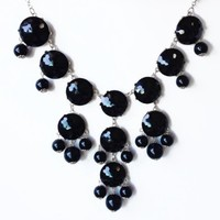 Silver Tone Chain New Color Bubble BIB Statement Fashion Necklace - Black