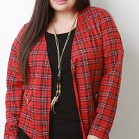 Plaid Open Front Blazer Jacket