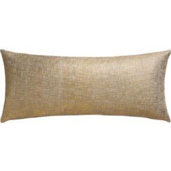 """Glitterati Gold 36""""x16"""" Pillow With Feather-down Insert"""