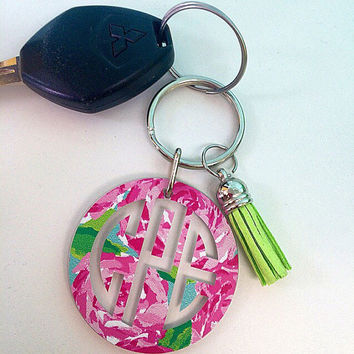 Lilly Pulitzer Inspired Monogram Key chain 3 Inch - Key chain - Perfect Gift -Monogrammed  - Lilly - Keys - Pattern - Preppy - Personalized