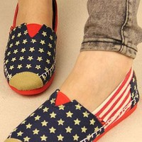 Leisure European Style Retro American Flag Loafers from perfectmall