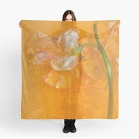 Colorful Orange Flower Square Scarf -  Orange, Pink , Green. Great for draping around neck or as beach wrap.