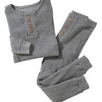 Heather Gray Henley Organic Pajama Set - Infant & Toddler