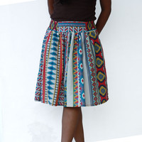 Autumn Fashion Midi Skirt Colorful Tribal Olympian Blue, Fuschia and Yellow with Two Pockets
