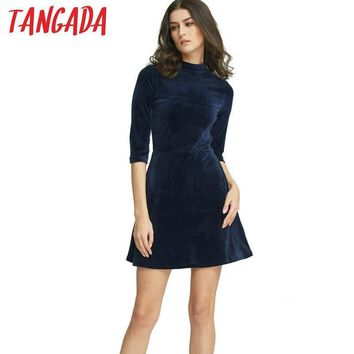 Tangada Fashion Women Velvet Dresses Office Navy Ukraine Vintage Tunic Warm Autumn Winter 2017 Mini Wrap Dress Female Vestidos