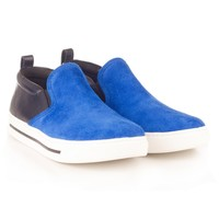 Blue Suede Slip On Sneakers