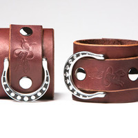 Chestnut Leather Bondage Cuffs - Steel Rings - Spotted Shadow Motif - Nickel Fasteners