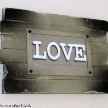 Rustic, Hand-crafted Wooden Sign - Love