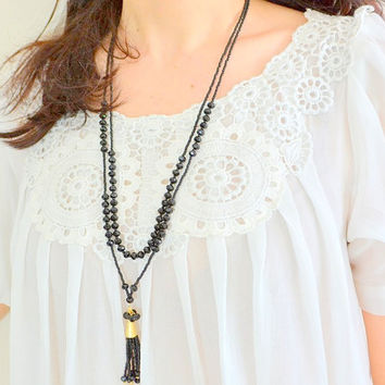 LONG TASSLE NECKLACE, multi layer necklace, two layer necklace, three layer necklace, multi strand necklace, layered necklace, boho necklace