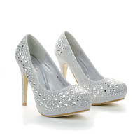 Mango25 Rhinestone Studded Sparkling Platform Stiletto Heel Dress Pumps