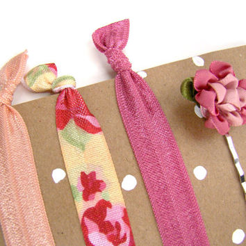 Pink Elastic Hair Ties, Pink Bobby Pin, FOE, Little Girl Christmas Stocking Stuffer ,Preppy, Small Gift, Pink, Spring, Easter Gift