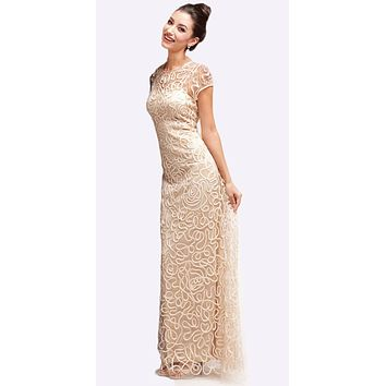 Semi Formal Long Lace Champagne Dress Tea Length Short Sleeve