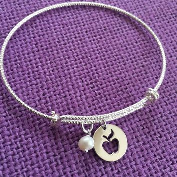 Teacher Gift - Teacher Appreciation - Teacher Bracelet - End of Year - Graduating Teacher Gift - Apple - Sterling silver