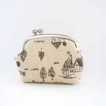 Frame Coin Purse-- side lock frame -houses on beige