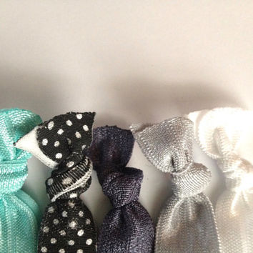 Tiffany Blue Ombre Black White Grey Polka Dot Hair by emmaflhair