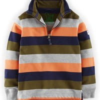 Boy's Mini Boden Half Zip Sweatshirt