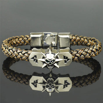 Game Extensions Unique Cross Fire CF Replica PU Leather Skeleton Skull Alloy Buckle Cuff Bracelet Bangle S249