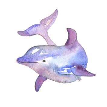 Dolphin Watercolor Art Print Ocean Animal Purple Blue Modern 8x10 Wall Art Decor Illustration Office Baby Nursery Art Hanging