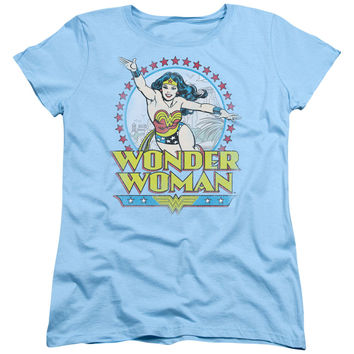 Wonder Woman Star of Paradise Island Light Blue Womens T-Shirt