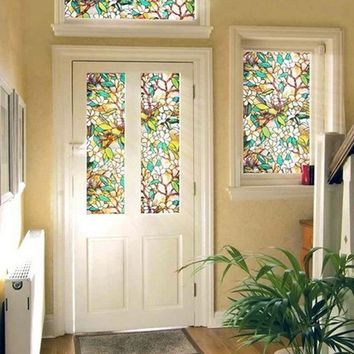 Stainedfilm 45x100cm Stained Glass Floral Home Decorative Window Static Cling Film