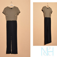 Vintage 1990s Gold Striped Jumpsuit with Relaxed Fit