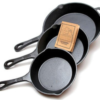 Cast Iron Skillets 3 PC Set
