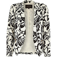 River Island Womens Black crepe floral print cropped jacket