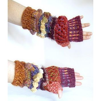 Hand knit text-ure fingerless gloves loaded with textures and colors. FREE SHIPPING