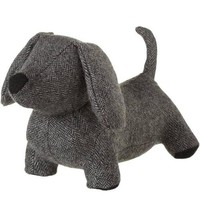 Grey Herringbone Dachshund Door Stop