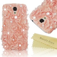 Mavis's Diary Luxury 3D Handmade Pink Elegant Silk Pearl Case Pink Cover for Samsung Galaxy S4 Gt-i9500 9505 M919 with Soft Clean Cloth (Pattern-A)