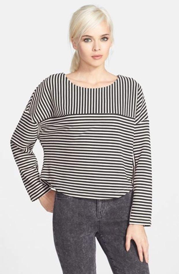 MARKS AND SPENCER PER UNA LADIES IVORY STRIPED KNITTED PEPLUM JUMPER NEW 302