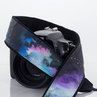 Galaxy Camera Strap 16-2, OOAK Hand painted, One of a Kind, dSLR or SLR, Cosmos, Nebula, Space