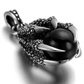 Mens Gothic Biker Stainless Steel Pendant Necklace Dragon Claw, Black Crystal KP1771