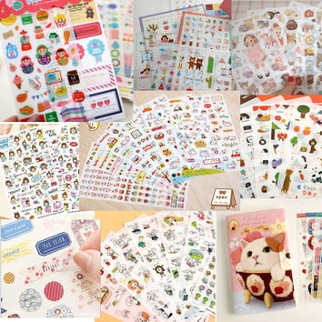 Cute stationery 6sheets/1set kawaii Deco Cat Girl scrapbooking planner stickers/sticky notes/filofax/papeleria/office supplies