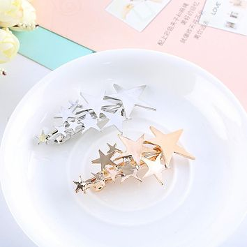 2016 New Korean style Jewelry Women Lady Girl Gold Silver Star Hair Clip Barrette Hairpin Bobby Pin Hair Accessories