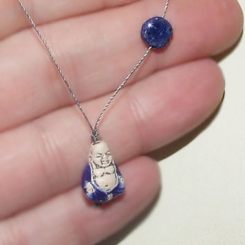 Blue Smiling Buddha with Lapis Lazuli Gemstone Coin Necklace, Handmade Peruvian Ceramic Buddha, Cord, Sterling Silver Clasp, Wabi Sabi Chic